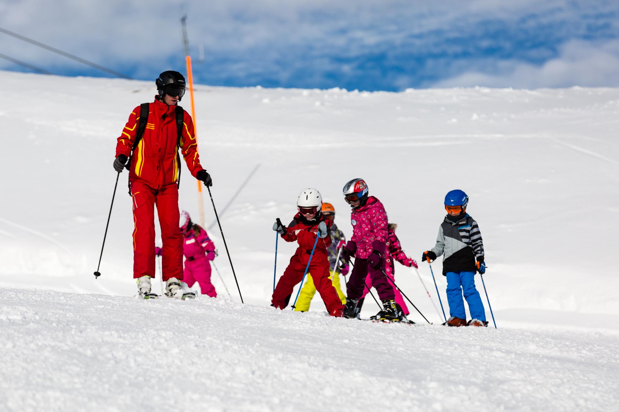 børn på skiferie